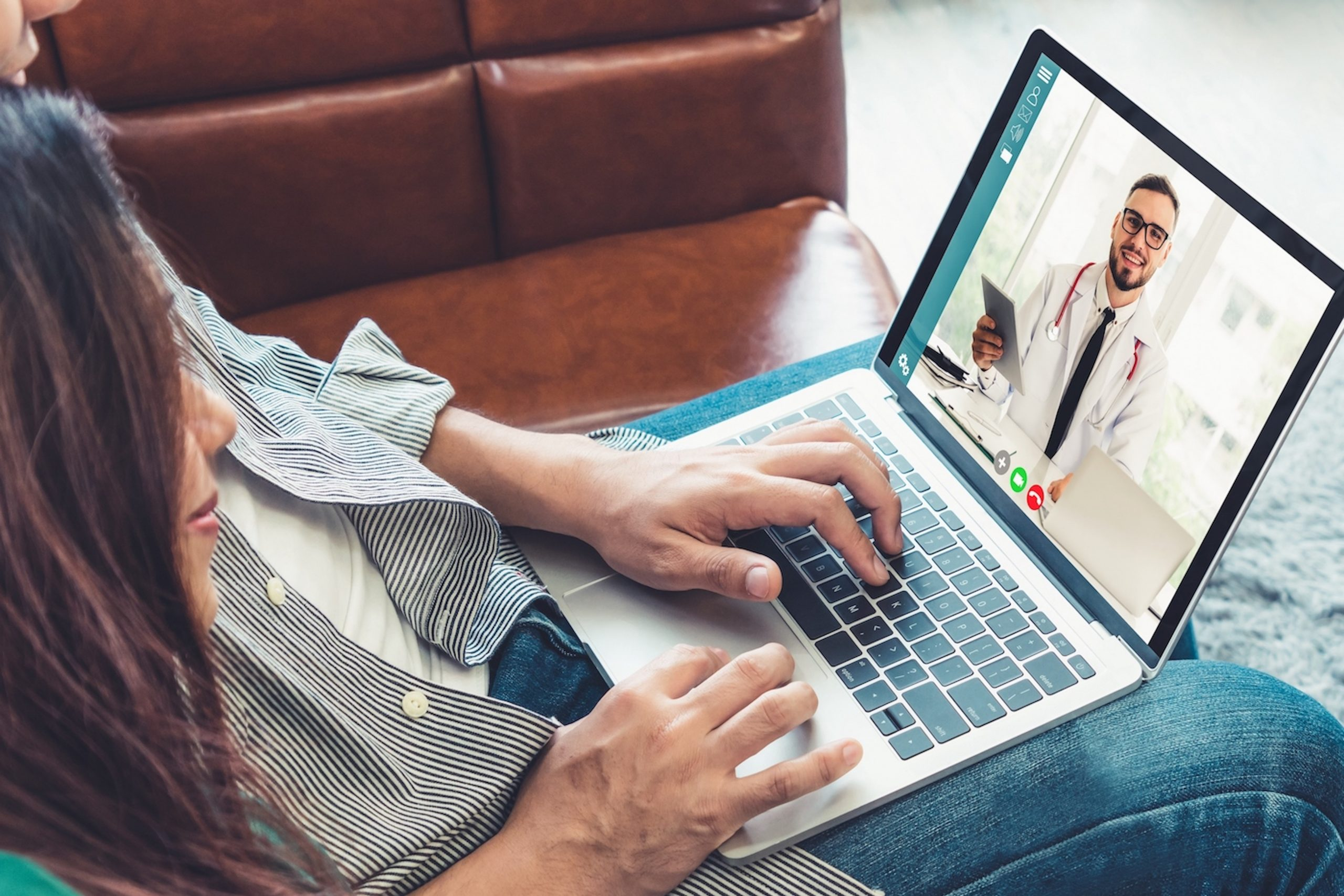Doctor telemedicine service online video for virtual patient health medical chat . Remote doctor healthcare consultant from home using online mobile device connect to internet for live video call .